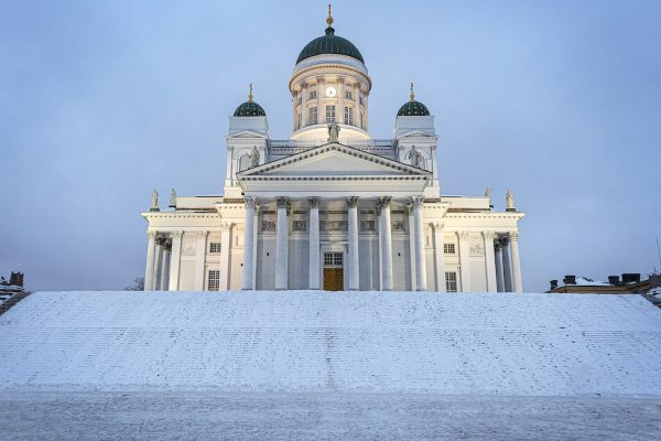 Helsinki Cathedral at twilight in winter